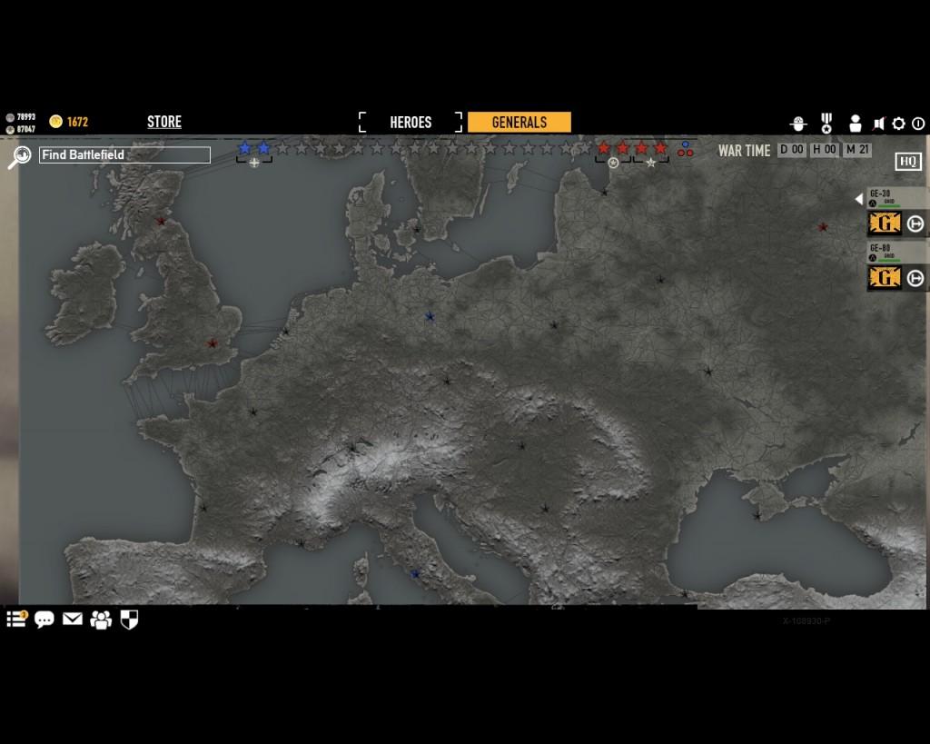 стратегическая карта войны в игре Герои Генералы - 3